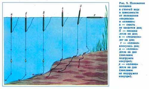 Положение поплавка в зависимости от положения подпаска